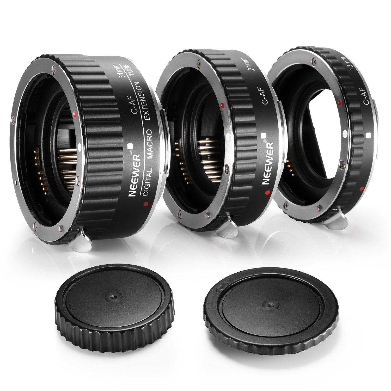 Neewer® 3-piece(12-20-36mm) Macro Automatic Extension Tube Set DG for Canon EOS 1D 1Ds 5D Mark 2 3 II III 6D 7D 10D 20D 20Da 30D 40D 50D 60D 60Da 70D 100D 300D 350D 400D 450D 500D 550D 600D 650D 700D 1000D 1100D 1200D Rebel SL1 XT XTi XS XSi T1i T2i T3