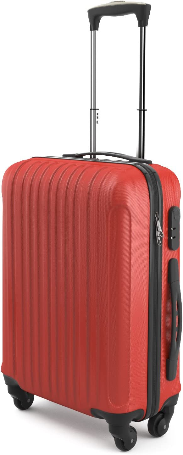 Eglemtek ABS Maleta Equipaje de mano cabina rígida ligera con 4 ruedas, 55cm ,trolley cáscara dura , color rojo