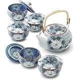 RANCHANT 有田烧 品味茶器魅力—珍山茶花茶具组合 (茶壶×1 带盖茶杯×5)