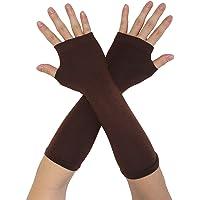 uxcell Women Winter Acrylic Rainbow Stripe Fingerless Thumbhole Elbow Length Long Knitted Gloves