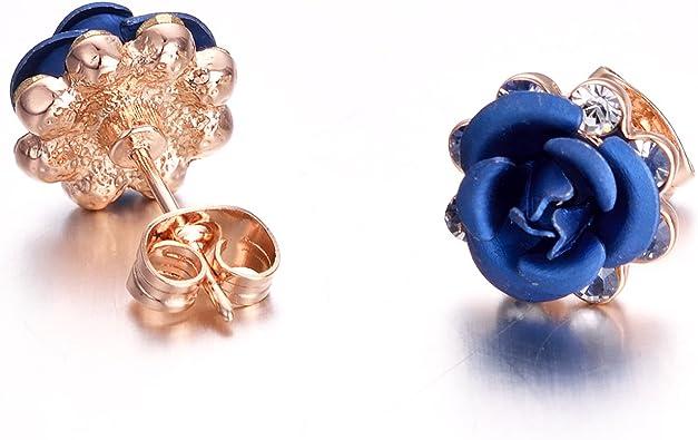 Yoursfs Pendientes de tuerca dise/ño de rosas chapados en oro rosa de 18 ct