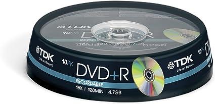 TDK 10 x DVD+R 4.7 GB - Pack 10 DVD+R 4,7 GB: Amazon.es: Informática