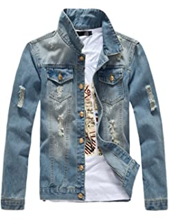 Victorious Distressed Denim Jacket at Amazon Mens Clothing ...