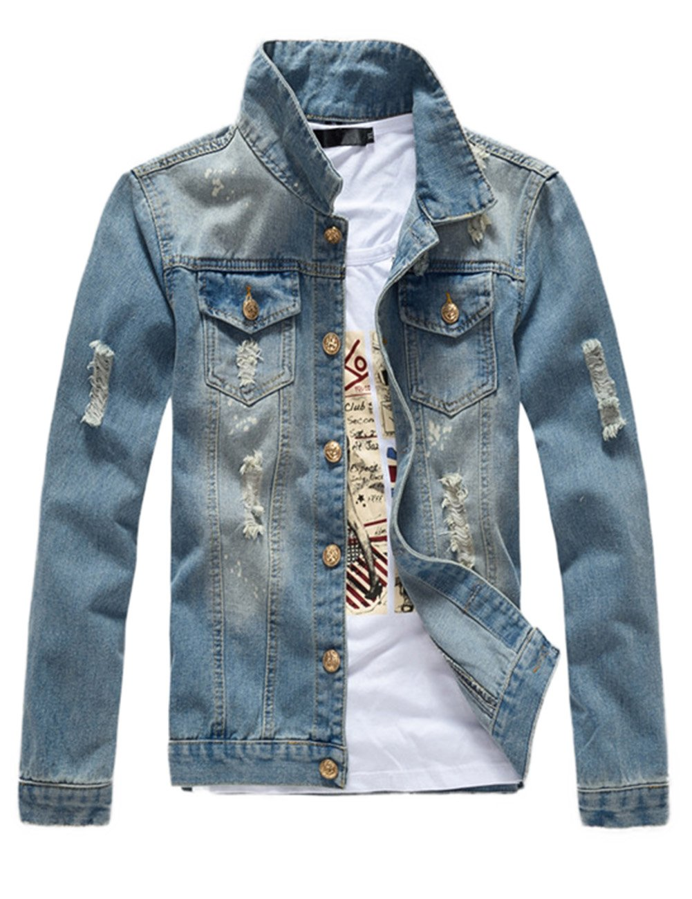 DSDZ Mens Classic Ripped Motorcycle Denim Jacket with Hole (M (Asian 2XL), Blue)