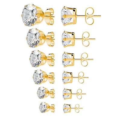 dc6471c10d8408 UHIBROS Stainless Steel Stud Earrings Set Hypoallergenic Pierced Cubic  Zirconia Gold 6 Pairs 3-8mm