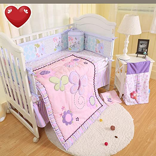 Amazon Com Brandream Crib Bedding Sets For Girls With Bumpers