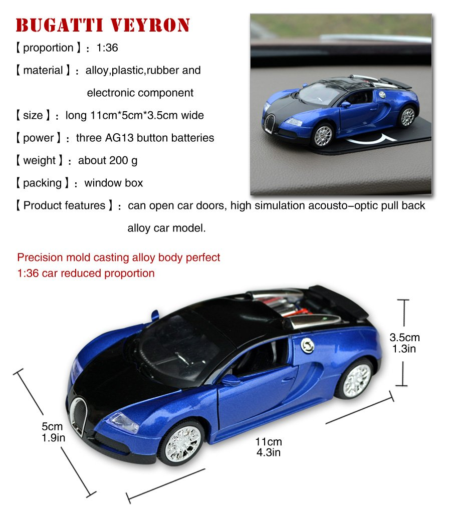 Buy Tianmei Bugatti Veyron Supercar Styling 1:36 Alloy Diecast Car Models  Collection Kids Toys Decoration Ornaments Light U0026 Sound (Blue Color) Online  At Low ...