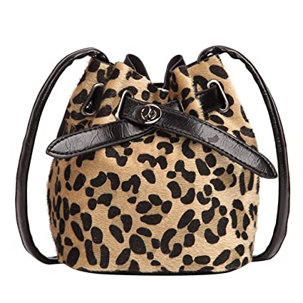 Image Unavailable. Image not available for. Color  Women Shoulder Bag  Bucket Plush Leopard Print Messenger Crossbody Bag Bucket Bags ... 816fa00df4381