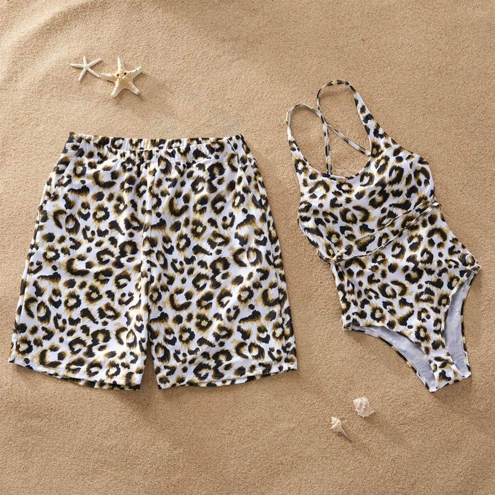 Mommy and Me Swimsuits Leopard Print One Piece Bikini Family Matching Monokini Halter Backless Beachwear Swimwear