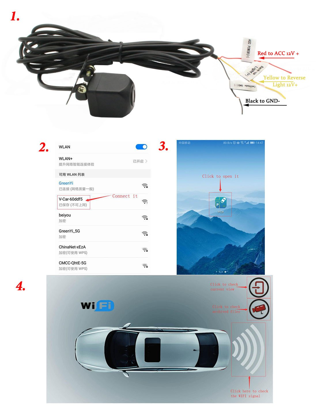 GreenYi WIFI Backup Camera for iPhone/iPad, Wireless Car Rear View Camera  for IOS and Android Smart Devices