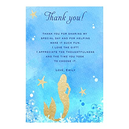 Amazon Com 30 Thank You Cards Notes Mermaid Baby Shower Birthday