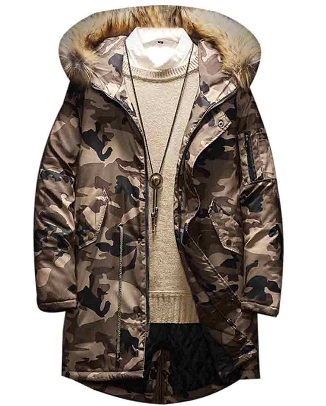 Hmarkt Mens Winter Quilted Padded Drawstring Faux Fur Collar Camo Print Casual Hooded Down Puffer Jacket