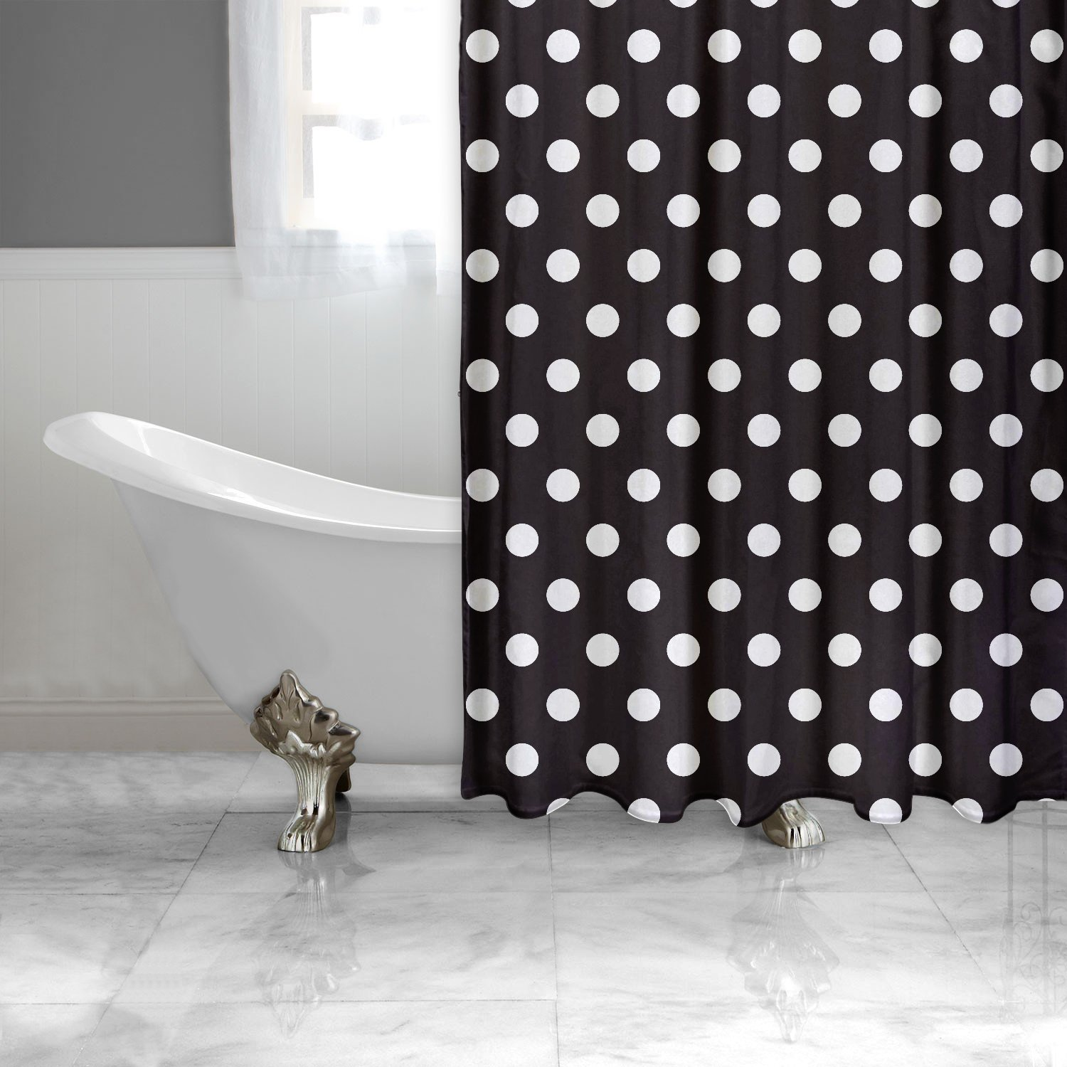 Amazon.com: Shower Curtain HQ - Black and White Polka Dot Shower ...