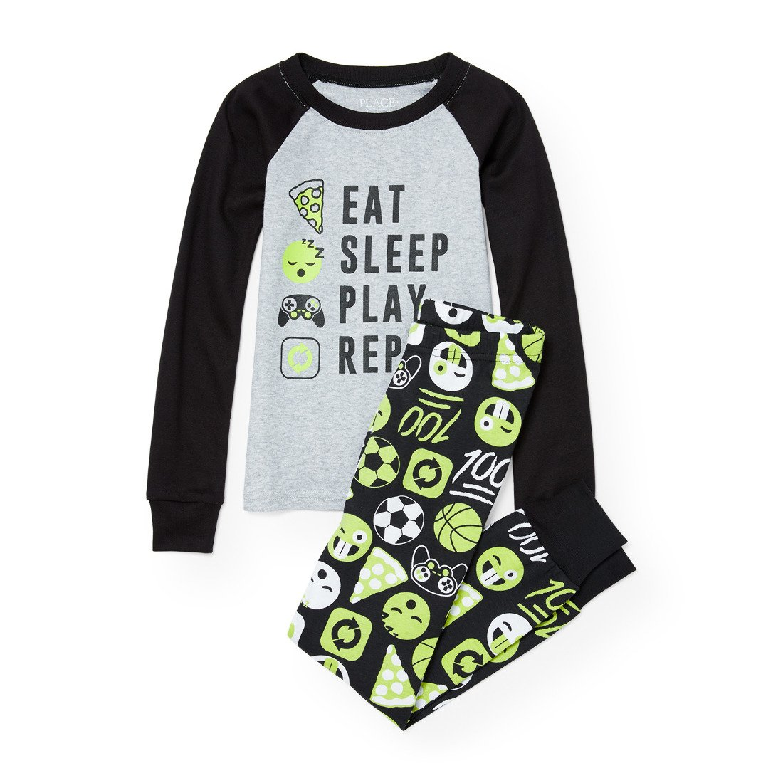 The Children's Place Boys' Big Eat and Sleep List Themed Cotton Pajamas, H/T Mist 90465, 6