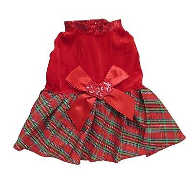 Tangpan Bow-Knot Christmas Pet Costume Plaid Skirt Dog Clothes Santa Dog Dress
