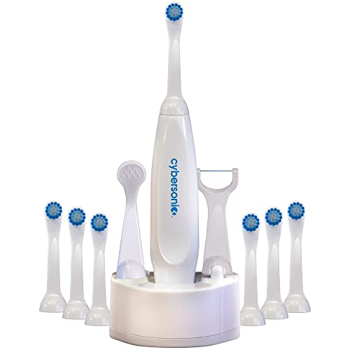 Cybersonic Classic Electric Toothbrush, Rechargable Power Toothbrush with Complete Dental Care Kit including Tongue Scraper and Floss Heads 6 Replacement Brush Heads