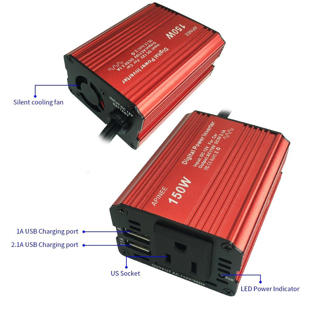 Apinee 150W Car Power Inverter DC 12V to AC 110V w// USB Port NEW