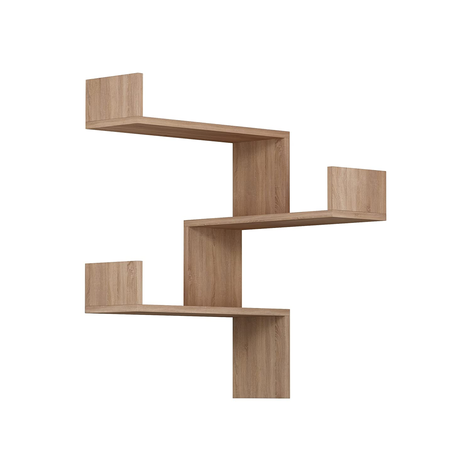 Homitis Cross Sided 3 Tier Floating Wall Shelf, Space Saver, 60 X