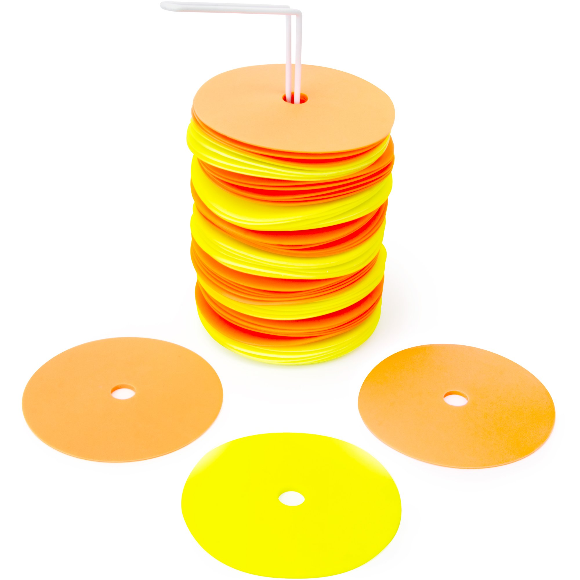 Crown Sporting Goods 6'' Non-Skid Floor Spot Markers: Set of 50 Agility Training Flat Field Cones in Fluorescent Yellow & Orange with Metal Carrying Stand by Crown Sporting Goods