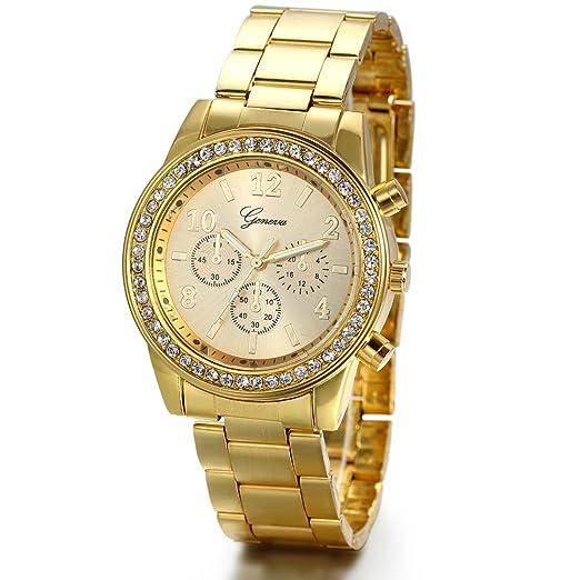 Reloj de pulsera unisex JewelryWe con correa de acero inoxidable dorada