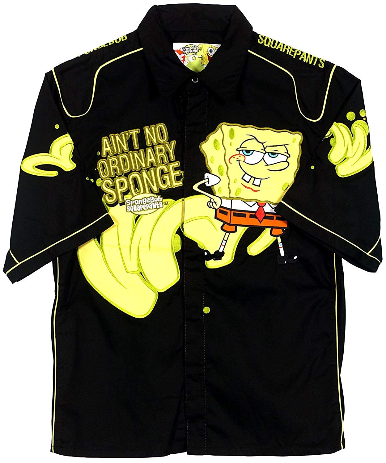 JH Design Spongebob Squarepants Men's Snap up Racing Style Shirt SBP14BLK