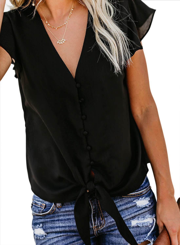 Asvivid kvinnor djup v-ringad knapp keps ärm slips knut avslappnad mode flödande blus skjorta toppar sommar 2020 1-svart