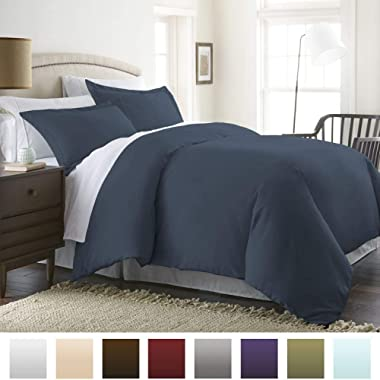 Beckham Hotel Collection Luxury Soft Brushed 1800 Series Microfiber Duvet Cover Set with Zipper Closure - Hypoallergenic -  Full/Queen, Navy Blue