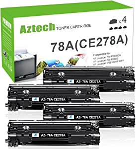 Aztech Compatible Toner Cartridge Replacement for HP 78A CE278A Laserjet P1606dn MFP M1536DNF P1606 M1536 P1560 P1566 (Black, 4-Pack)