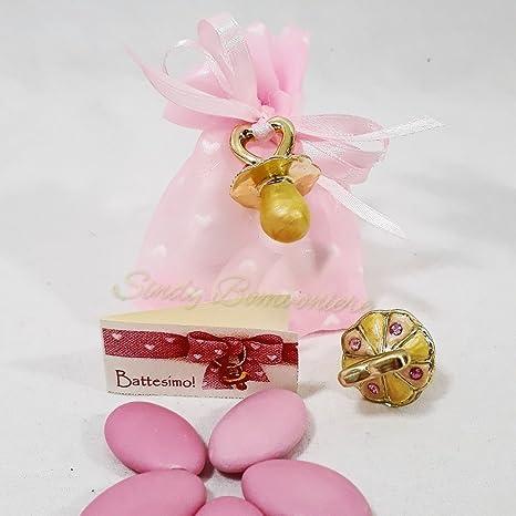 Servilletas rosa con chupete dorado con strass fuxia bautizo ...