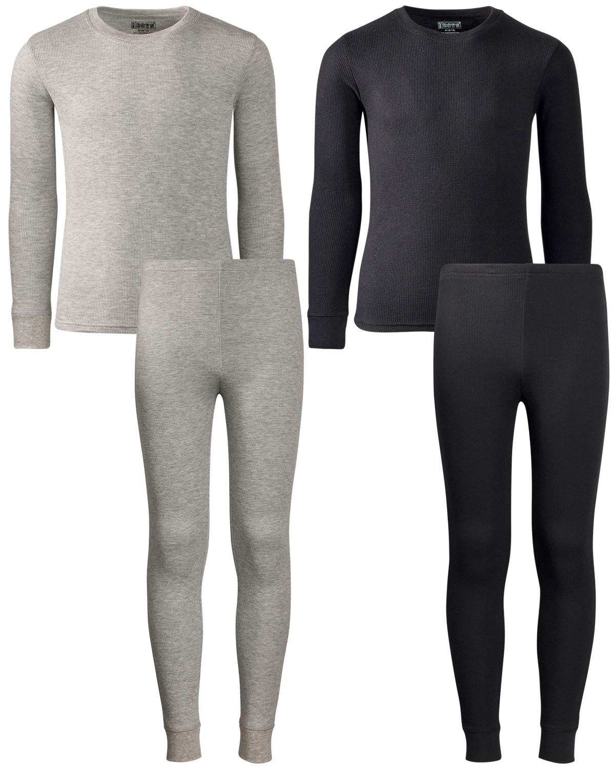 Only Boys 2-Pack Thermal Warm Underwear Top and Pant Set (2 Full Sets), Black/Heather Grey, Size 4/5' by Only Boys