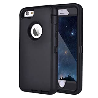 """MAXCURY iPhone 6 Case iPhone 6s Case Heavy Duty Shockproof Series Case for iPhone 6/6S (4.7"""")-V2 with Built-in Screen Protector Compatible with All US Carriers - Black"""