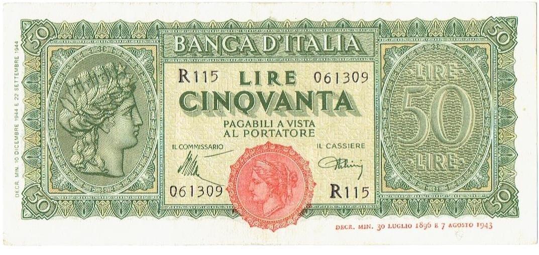 Cartamoneta  50 Lire Italia TURRITA 10 12 1944 SPL+