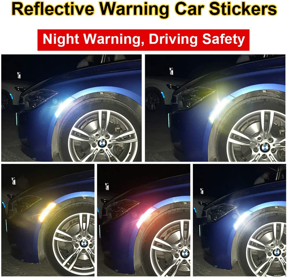 2pcs Car Reflective Safety Stickers Red Keenso Auto Self Adhesive Safety Warning Caution Decals Stickers
