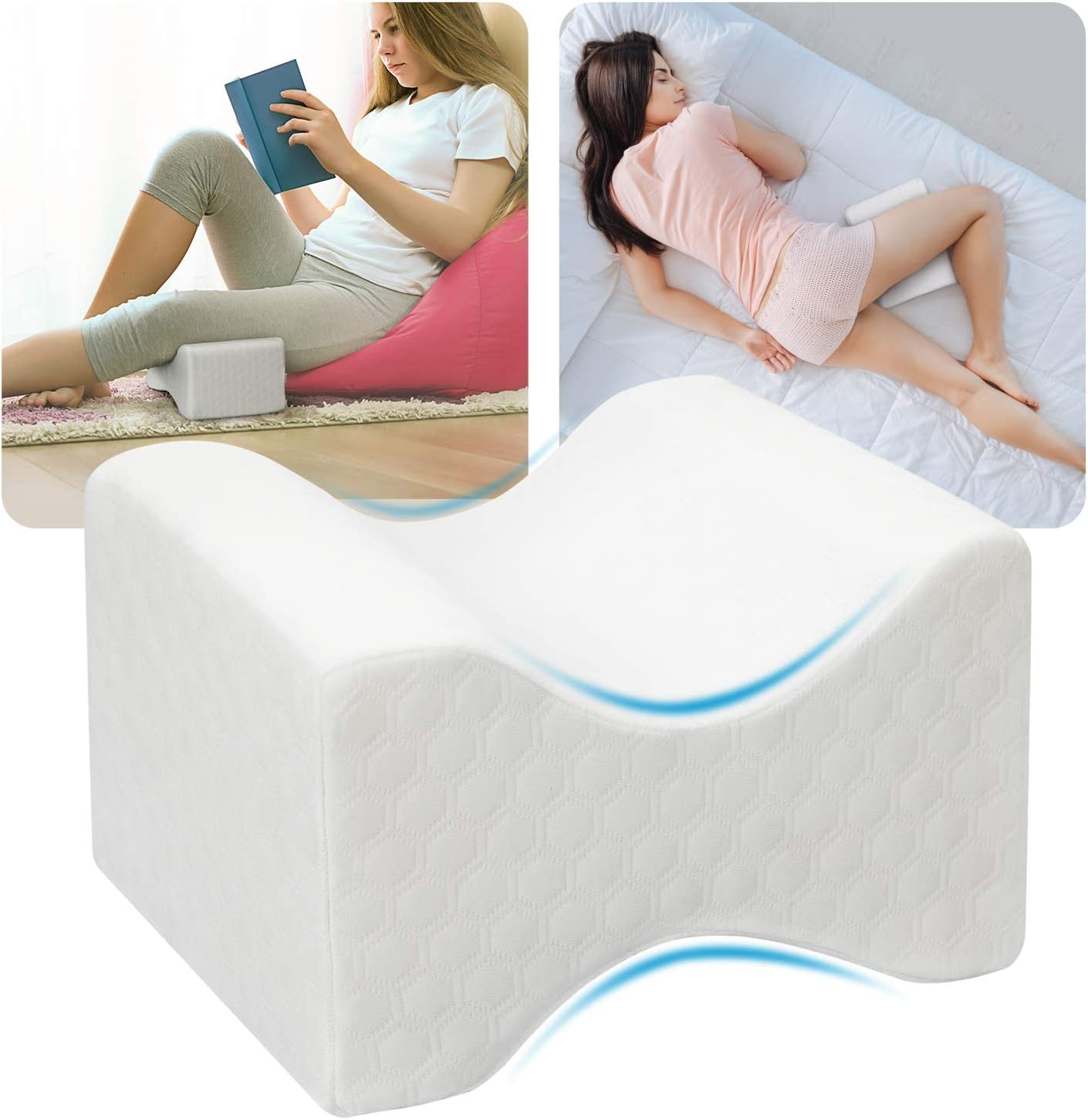 HUANUO Knee Pillow for Side Sleepers - Memory Foam Leg Pillow for Sleeping with Extra Cover, Cooling Gel for Sciatica Relief, Lower Back Pain, Leg Pain, Pregnancy, Joint Hip Pain,Wedge Contour