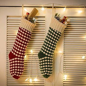 Asdomo 2 unidades de calcetines de punto de Navidad de 45,72 cm, adornos
