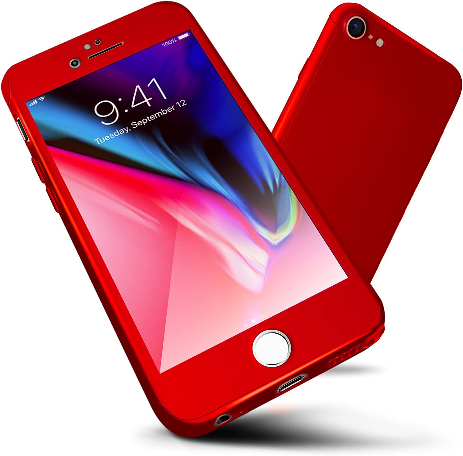 """iPhone 6s Case,ORETECH iPhone 6/6s Case Full Body Hard PC Case with[2 x Tempered Glass Screen Protector] Ultra Thin Lightweight Shock Absorption and Anti Scratch Case for iPhone 6 Case-4.7""""-Red"""