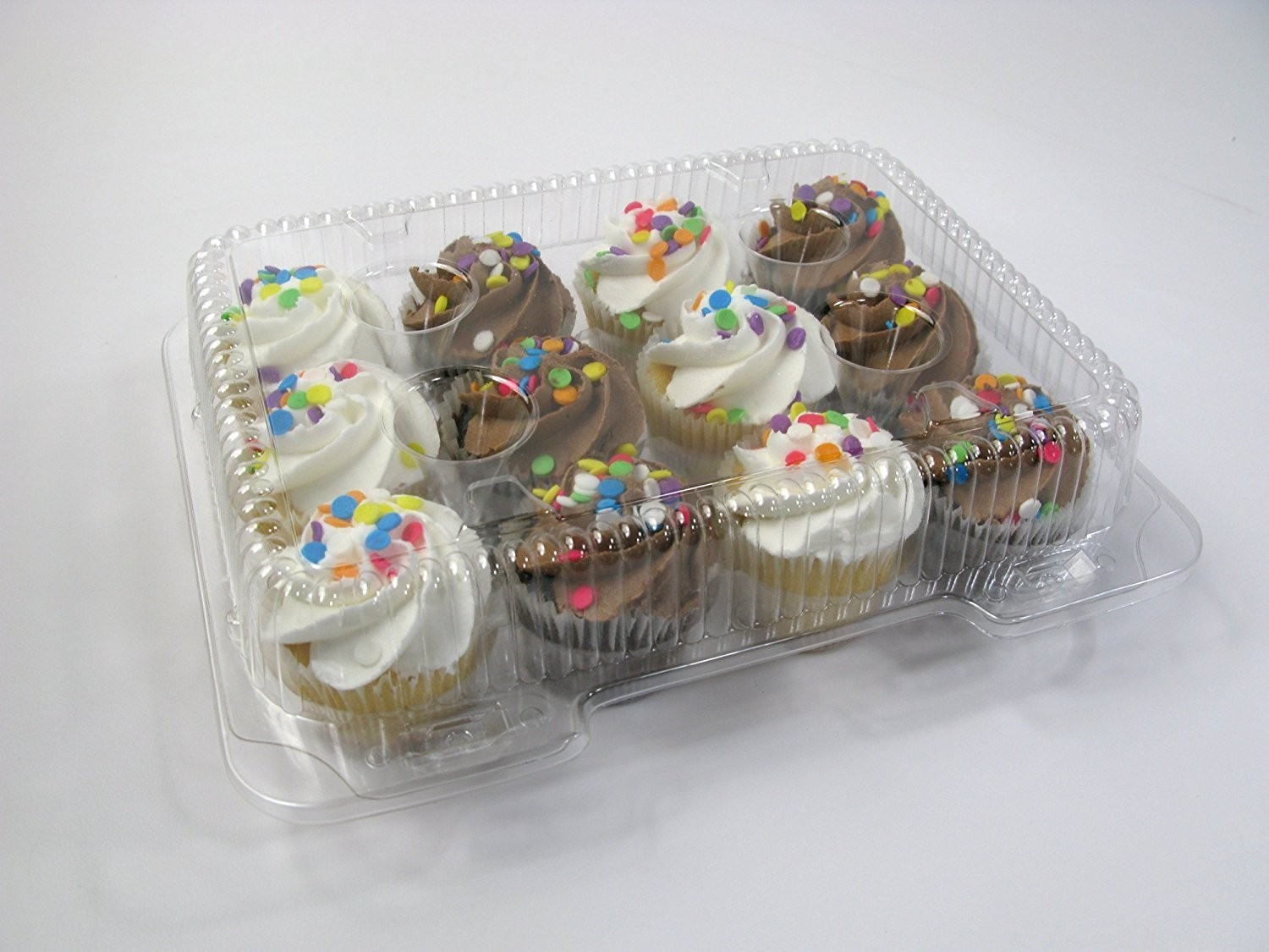 Cupcake and Muffin Containers with Superior Hinged Lid, Clear 12-Compartment, Strong and Sturdy, BPA Free, crystal Clear Plastic,( pack of 32) by The Bakers Pantry (Image #6)