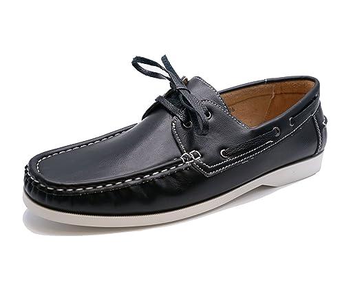 Negro De Hombre Con Cordones Mocasines Conducción Cómodo Náuticos Zapatos Casual Número 6-11 - Negro, 45: Amazon.es: Zapatos y complementos