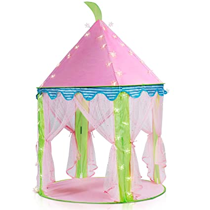 new arrival 6e2ac f5b60 Sonyabecca Princess Castle Tent Light Up Tent for Girls Pop up Tent Pink  with 16ft Snowflake LED Light