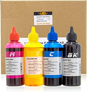 LKB Refill Ink Kit 6x100ml for HP 950 951 60 61 952 902 901 61 60 62 63 21 22 920 940 934 564 932 933 711 970 971 92 94 95 96 97 Cartridge or CIS CISS System 4 Color Set (600ml) -US