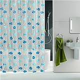 Uphome 72 X 72 Inch Cute Waterproof and Mildewproof PEVA Translucent Kids Bathroom Shower Curtain - Blue Ocean Fishes Heavy-duty Bathroom Accessories Curtain Ideas