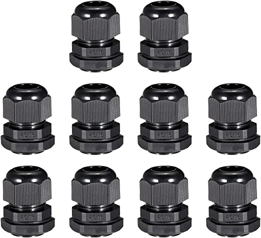 uxcell 5Pcs PG21 Cable Gland Waterproof Plastic Joint Adjustable Locknut Black for 13mm-18mm Dia Cable Wire
