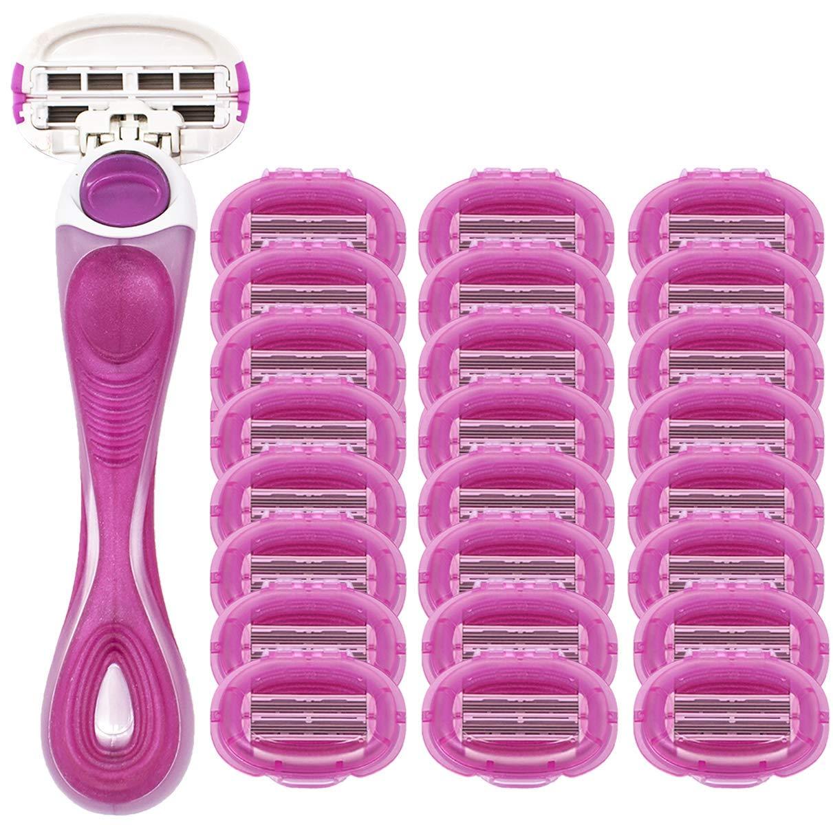 Shave Mob: The Perfectionist w/Flex Head - Women's 6 Blade Shaving Razor - 24 Razor Head Pack - Nonslip Handle - Precision-Cut Blades - Lubrication Strip: Aloe, Vitamin E, Lavender Oil by  Shavemob