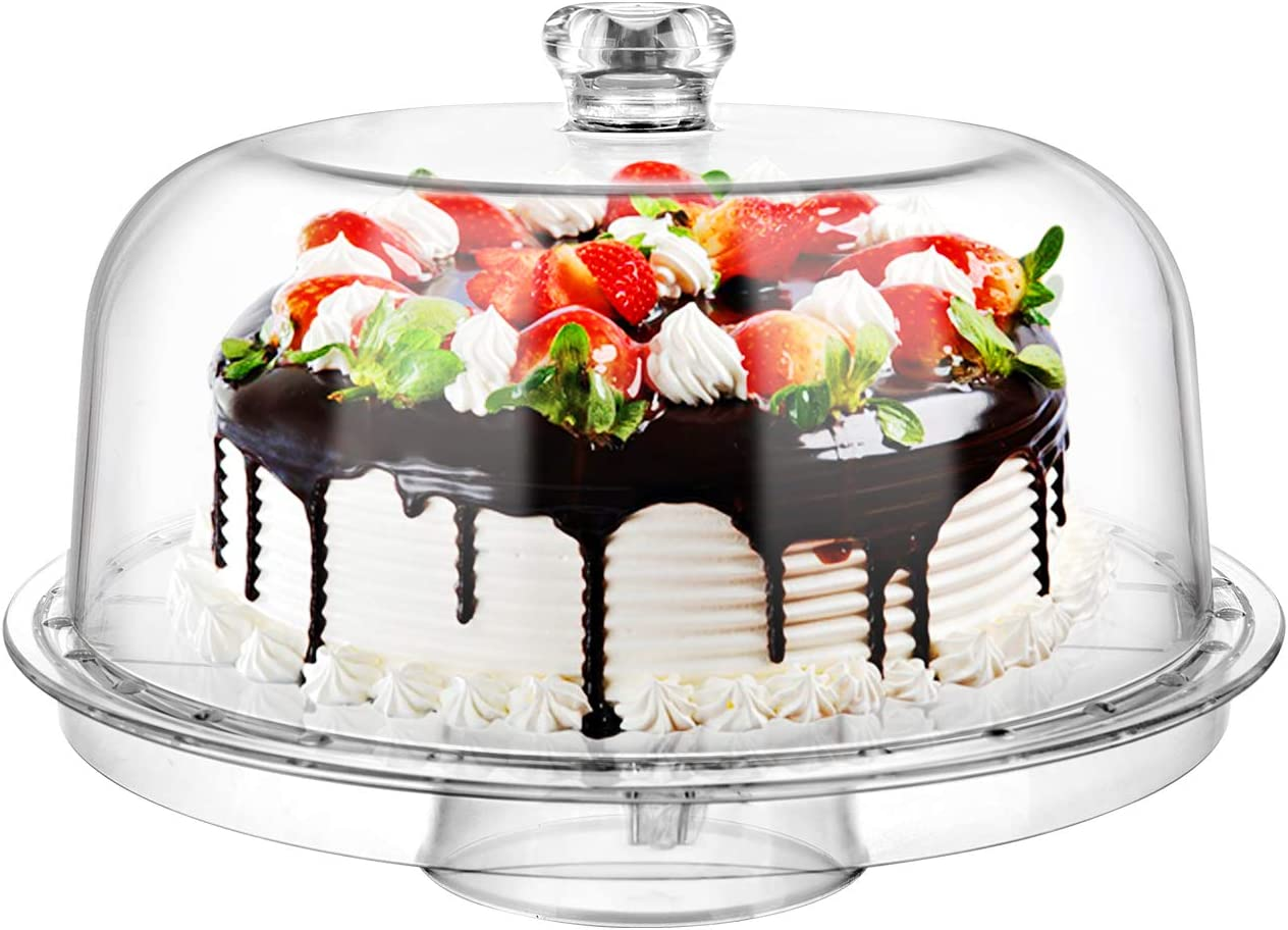"""Geesta Clear Acrylic 6-in-1 Cake Stand for Party Sweet Dessert Cake Plate with 12""""Dome Multi-Function Serving Platter, Salad & Punch Bowl"""
