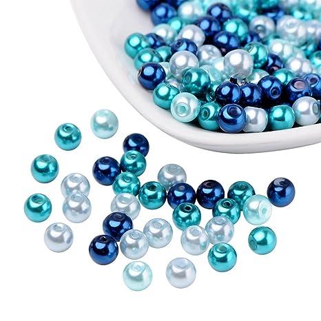 Pandahall Caribe azul mezcla de perlas de vidrio nacarado perlado, color mezclado