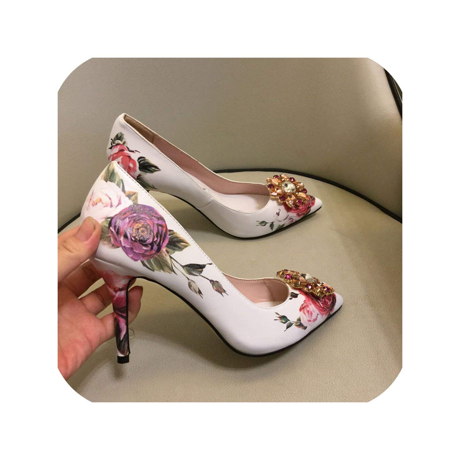White 10cm The Hot Rock-sandals Printed color High Heel shoes Woman Point Toe Shallow Thin Heel Bling Crystal Wedding shoes Women