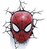 LANSAY - 10150, Lampada da parete 3D a forma di maschera di Spiderman