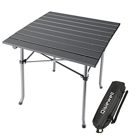 Qisiewell Camping Table Aluminum Outdoor Folding Beach Table Compact  Lightweight Portable Small Picnic Table For Indoor