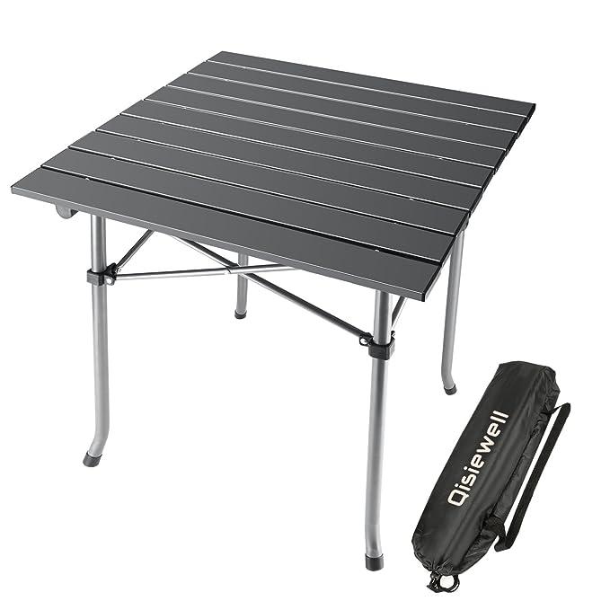 Qisiewell Mesa de camping Mesa de playa plegable de aluminio al aire ...