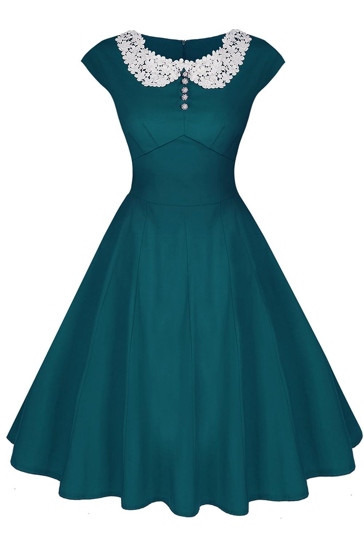 ACEVOG Damen Sommerkleid Rockabilly Party Cocktailkleider mit Spitzen 1950er Retro Vintage Abendkleider Stretch Knielang Schwarz/Dunkelgrün/Blau/Rot Gr.36-44